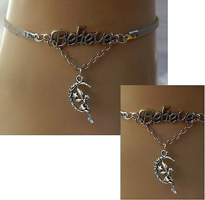Silver Believe Fairy Choker Pendant Necklace Handmade Adjustable new Accessories