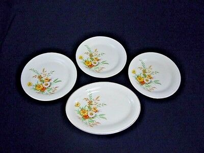 Edwin Knowles China Set of (3) Dinner Plates and (1) Oval Serving Platter