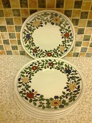 Thomas Germany Porcelain 5 X Small Dinner Plates Red Yellow Flowers Green Leaves