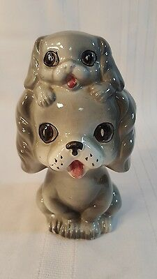 VINTAGE  CERAMIC SPANIEL GRAY DOG WITH PUPPY PIGGY BANK - JAPAN Pacific Import