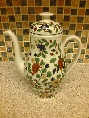 Thomas Germany Porcelain Coffee Pot + Lid Red Yellow Flowers Green Leaf