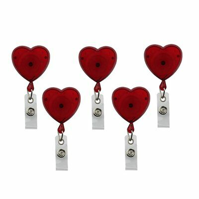 Translucent Red Heart Shaped Retractable Badge Reel (PACK of 5)