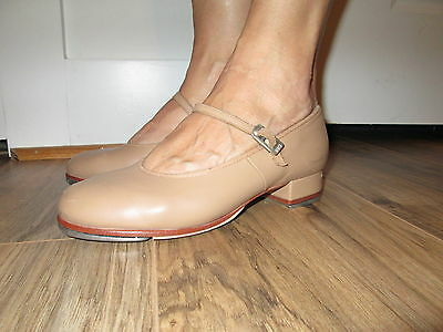 Worn Bloch Techno Tap Jazz Dance Nude Tan Leather Shoes Mary Jane #2T Womens 6.5