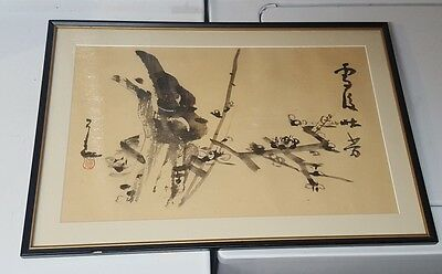 Vtg Chinese or Japanese Original Signed Art Work Ink Watercolor Framed painting