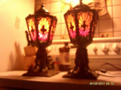 "TWO - 14"" Antique 5 Panel Glass & Brass Victorian Electric Table Lamp - L.M. CO"