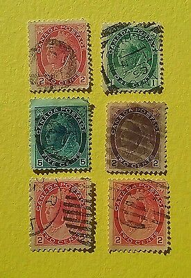 Canada 1898 - 1902 Queen Victoria Numerical Issues ( 6 stamps )
