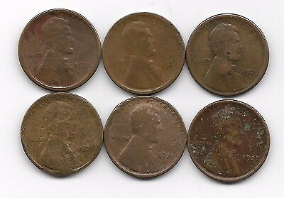 1921s lincoln wheat cent cents heavy damaged 6 coin lot
