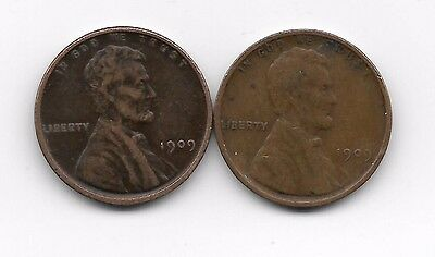 1909 + 1909vdb vdb lincoln wheat cent cents 2 coin lot