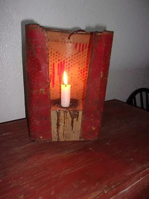 Antique Punched Tin Early Style Candle Holder Lantern - Make do - OLD RED PAINT!