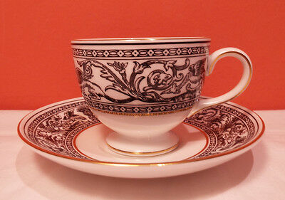 Wedgwood FLORENTINE BLACK Cup and Saucer 4 Avail EXCLNT W4312 Leigh Gold Dragons