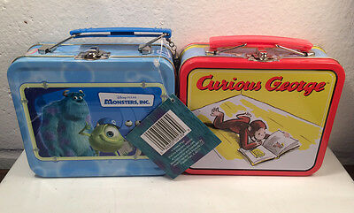 Lot of 2 Mini Lunchboxes: Curious George & Monsters Inc., Tin Lunch Box Storage