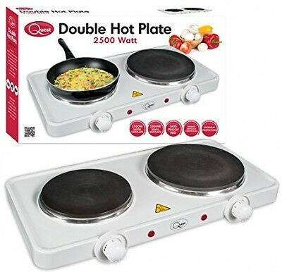 Quest Electric Twin Hotplate Double Food Cooking Hob Ring Warming Heating Plate