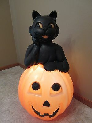 """Vintage Empire Lighted Black Cat With Pumpkin Halloween Blow Mold 35"""""""