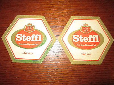 2 Vintage MATCHING Steffl Beer Coasters Ausria Collectible Set
