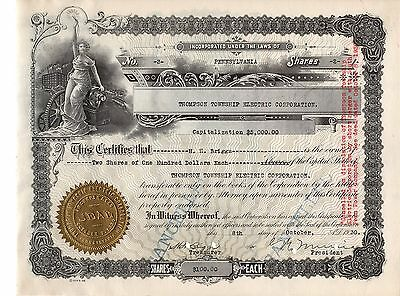 Rare - Thompson Township Electric Corporation - Stock Certificate