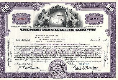 The West Penn Electric Company - Stock Certificate - Common - Purple