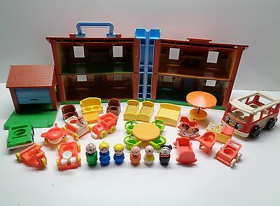 VINTAGE Fisher Price Little People #952 BROWN HOUSE 100% complete plus Extras #1