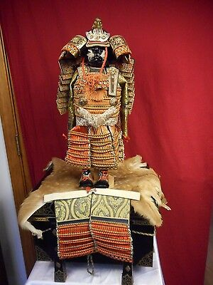 Antique Japanese Boy's Day Samurai Warrior Yoroi Armor, Kabuto Helmet W/ Chest!