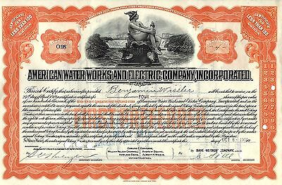 American Water Works And Electric Company, Inc. Stock Certificate - Orange