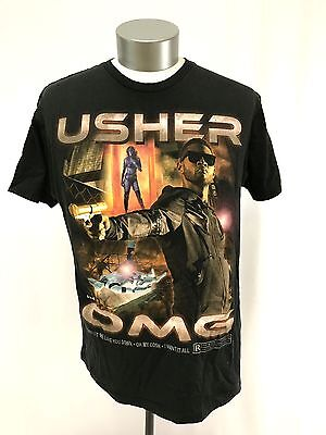 black USHER t-shirt OMG concert tour oh my gosh LARGE