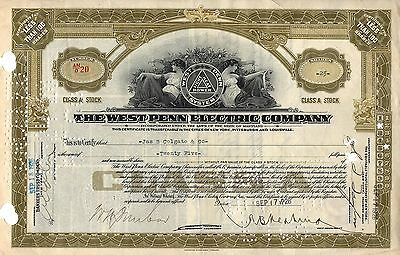 """Rare - The West Penn Electric Company Stock Certificate - Class """"a"""" - Gold"""