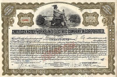 American Water Works And Electric Company, Inc. Stock Certificate - Off Gold