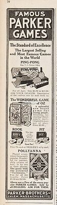 1922 Parker Brothers Games Ping Pong Rook Pit Pollyanna Wizard Of OZ Print Ad