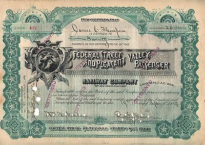 Rare - Federal St. And Pleasant Valley Passenger R.r. Co. - Stock Certificate