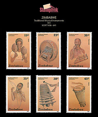 ZIMBABWE • 1991 • Trad'l Musical Instruments • SCOTT 636-641 • Mint Never Hinged