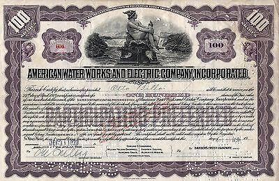 American Water Works And Electric Company, Inc. Stock Certificate - Purple