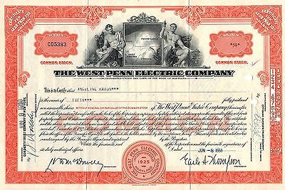 The West Penn Electric Company Stock Certificate - Common - Orange