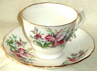 Colclough Footed Cup & Saucer Flowers Orchid Iris Made in England