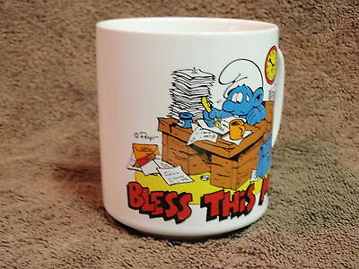 Vintage 1982 Smurfs Bless This Mess Coffee Mug/Cup Wallace Berrie