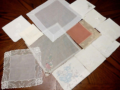 12 VINTAGE WEDDING HANKIES Lot WHITE PINK BLUE Embroidery CAKE Lace EXCELLENT