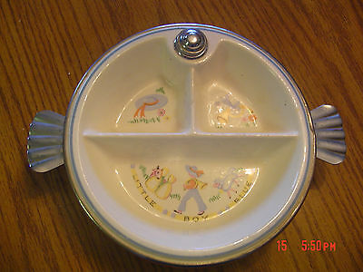 Vintage Little Boy Blue Bartsch Porcelain/Chrome Divided Childs Warming Dish