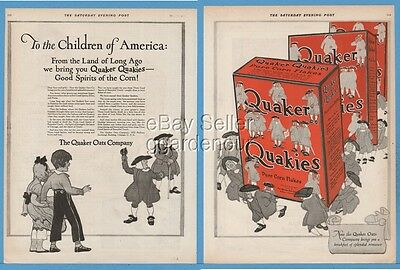 1920 Quaker Oats Quakies Cereal Pure Corn Flakes Box Good Spirits Art Ad