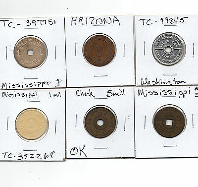 15) Miss, WA, AZ, OK Tax Tokens