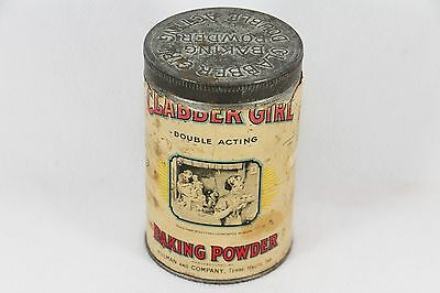 Vintage Clabber Girl Baking Powder Advertising Can Tin 25oz Paper Label Embossed