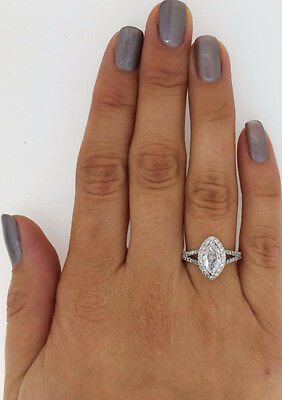 2.01 Ct Marquise Cut D/s1 Diamond Solitaire Engagement Ring 14K White Gold