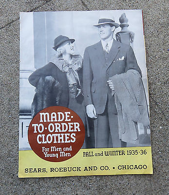 Vtg 1935 -36 Fall Winter Sears Men's Made to Order Clothes Suits Catalog Booklet