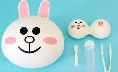 New Cute Line Frineds Bear Pocket Eye Contacts Lens Box Case Holder Rabbit