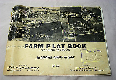 Farm Plat McDonough County Illinois w/ Index to Owners 1962 w/ fold out Soil Map