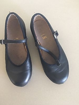 Girls Bloch Tap Shoes Size 10 Black Leather