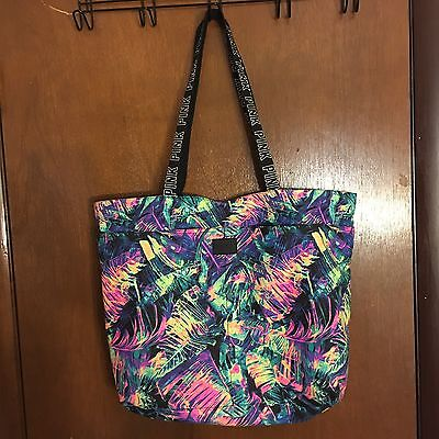 Victoria's Secret PINK Multicolor Tropical Palm Travel Tote Bag Shopper NEW