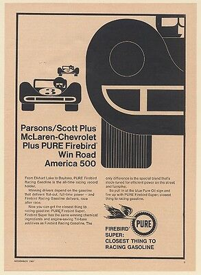 1967 Parsons/Scott Pure Firebird Racing Gasoline Win Road America 500 Print Ad