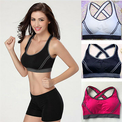 Women Sports Bra Yoga Fitness Stretch Workout Tank Top Seamless Racerback Padded