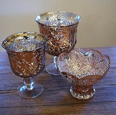 New-3/set Etched Glass Vase Candle Holder Candy Dish Rose Gold Pink Home Decor