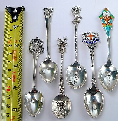 Hallmarked silver spoons lot of 6 Sterling - Edinburgh, Portsmouth, Liverpool...