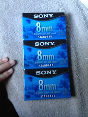 3 pack Sony 8mm standard 120 min video tapes