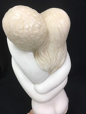 1971 Alva Museum White Resin Marble Sculpture Embracing Nude Couple AMR Signed